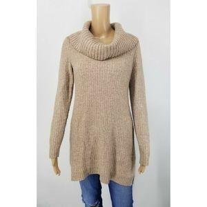 - WHBM Tunic Sweater Small Tan Cowl Neck
